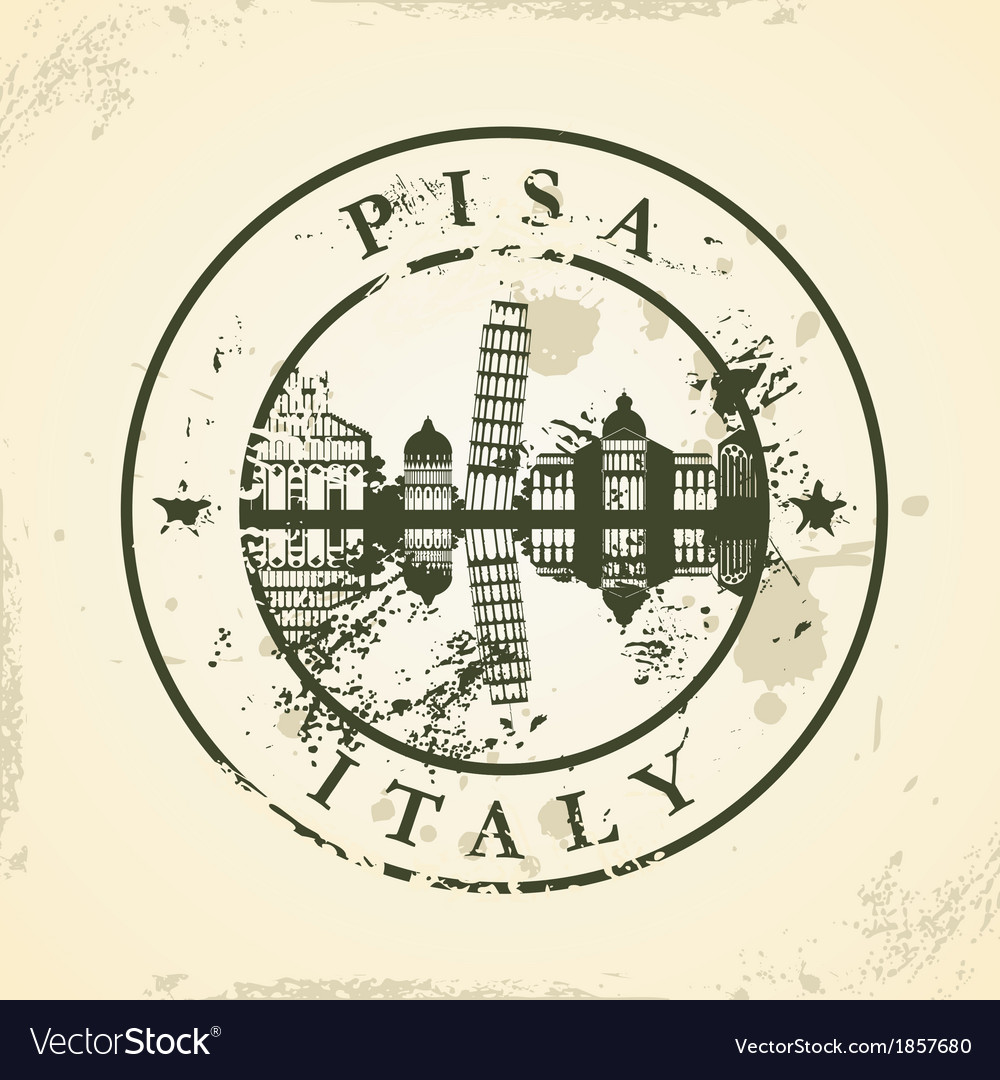 Grunge rubber stamp with pisa italy vector | Price: 1 Credit (USD $1)