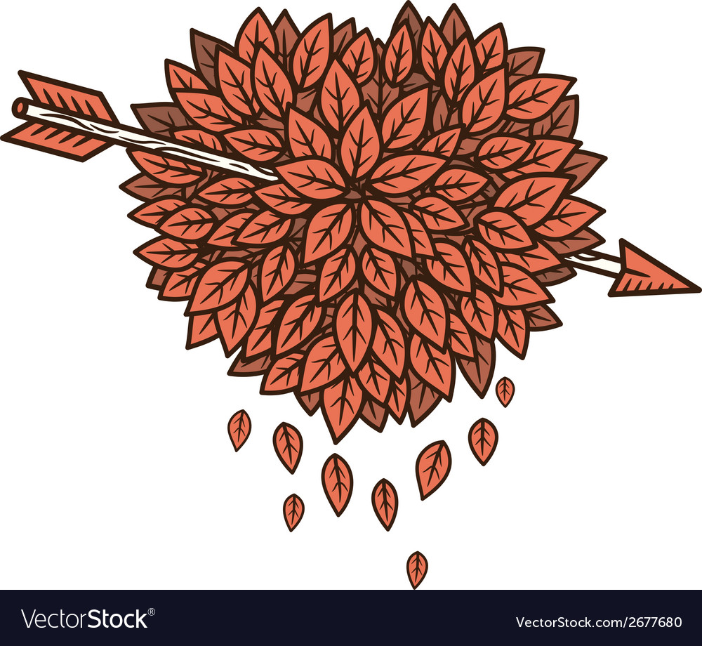 Heart of leaves with arrow vector | Price: 1 Credit (USD $1)