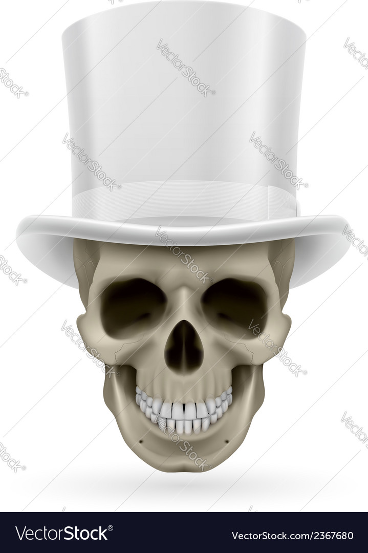 Human skull with hat on vector | Price: 1 Credit (USD $1)