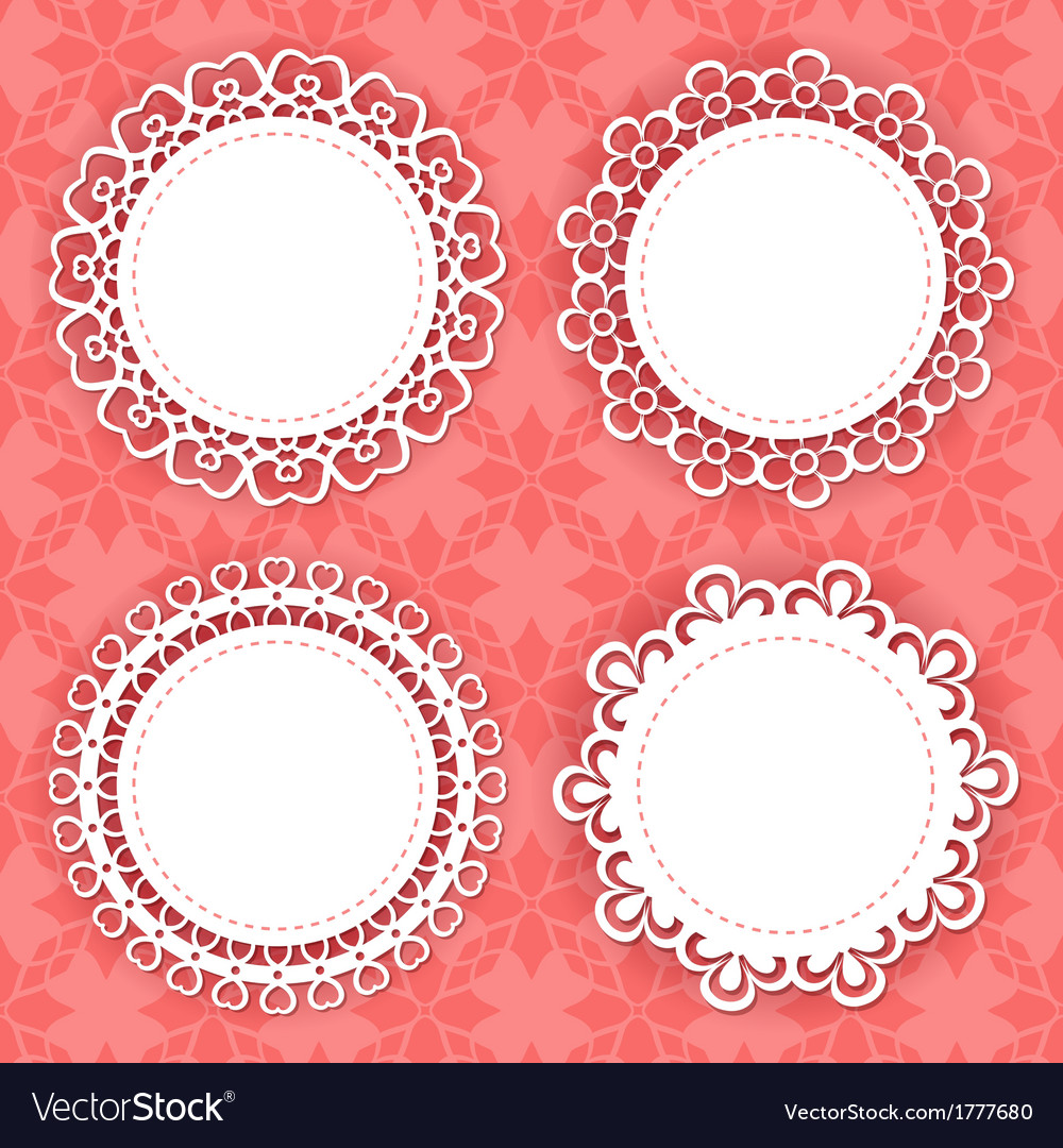 Lacy frames on the red background vector | Price: 1 Credit (USD $1)