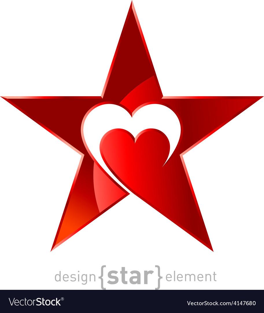 Original metallic red star with heart vector | Price: 1 Credit (USD $1)