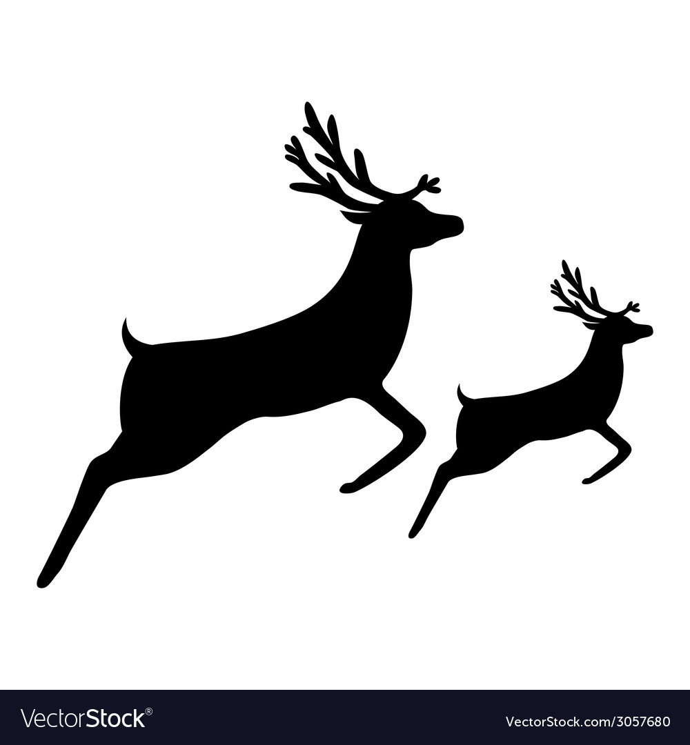 Silhouette of a reindeer with a cub vector | Price: 1 Credit (USD $1)
