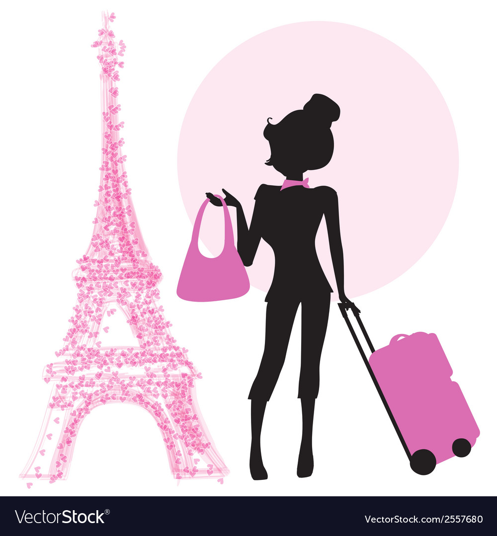 Young woman with suitcase in paris vector | Price: 1 Credit (USD $1)
