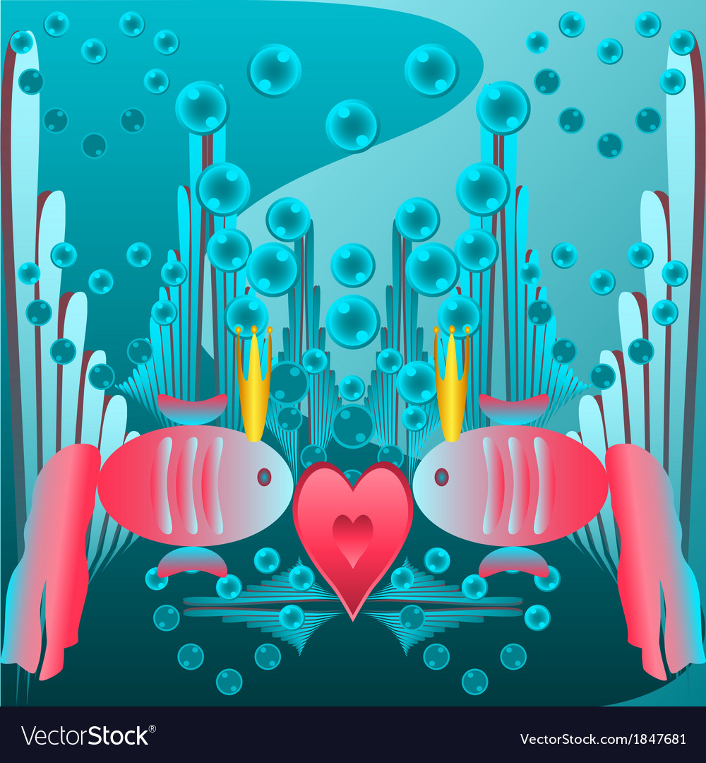 Card valentines day red fish vector | Price: 1 Credit (USD $1)