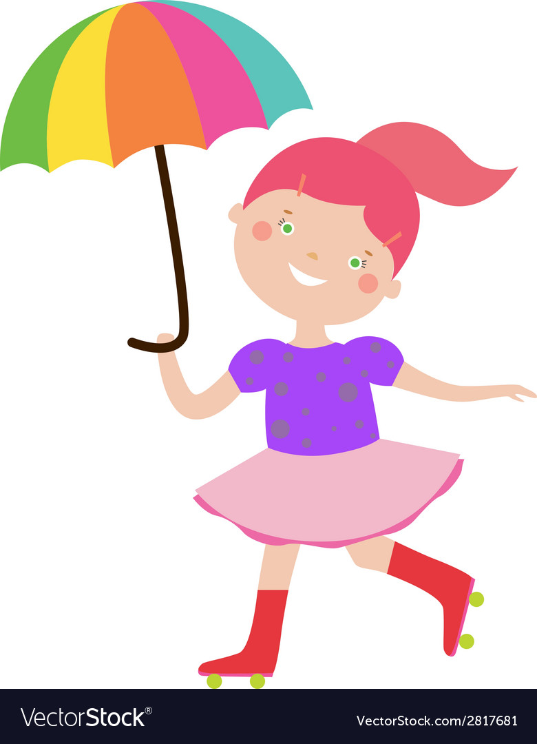 Circus girl with umbrella vector | Price: 1 Credit (USD $1)