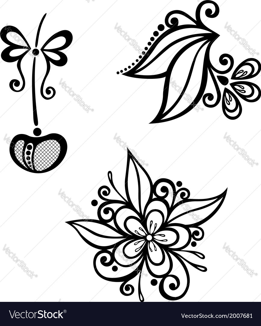 Decorative cherry branch set vector | Price: 1 Credit (USD $1)