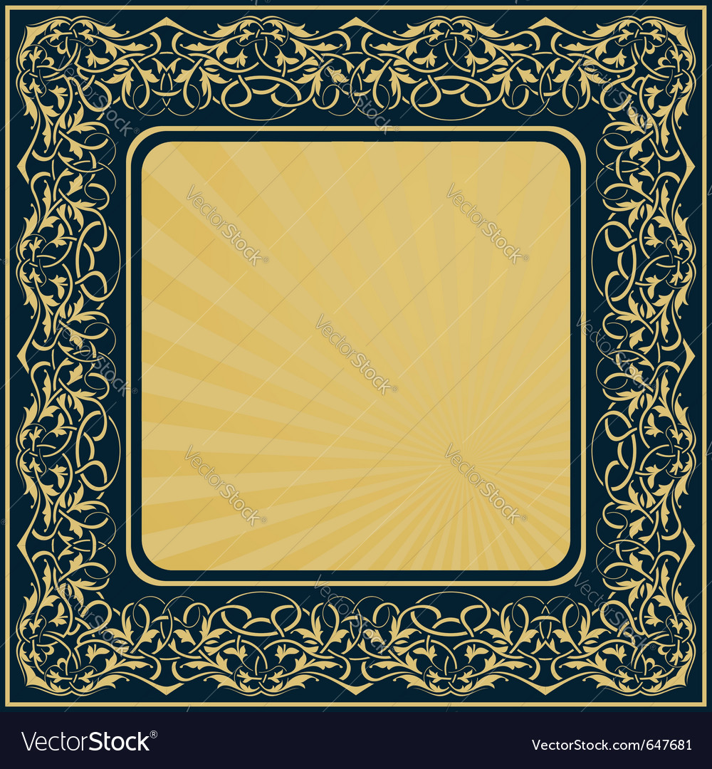 Gold frame with floral ornamental border vector | Price: 1 Credit (USD $1)