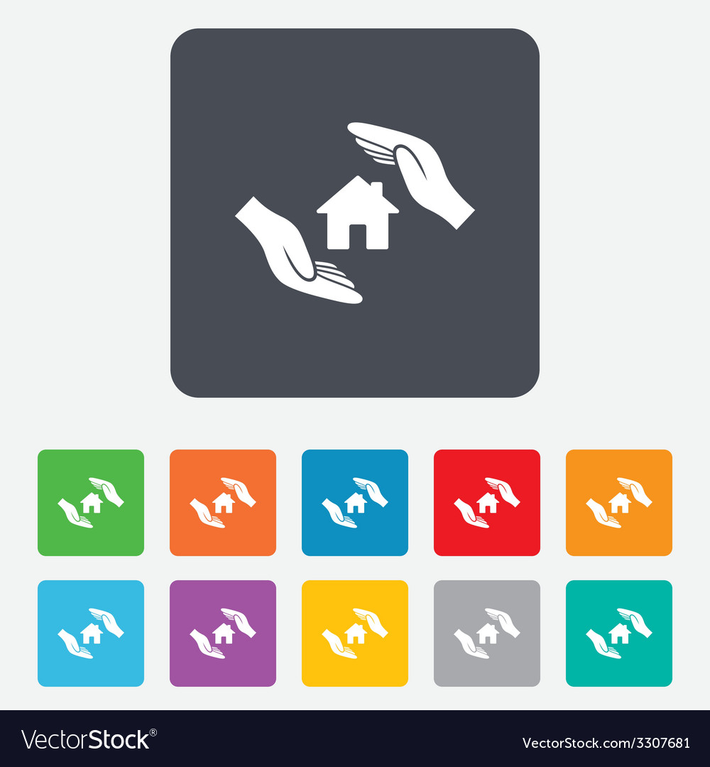 House insurance sign icon hands protect cover vector | Price: 1 Credit (USD $1)