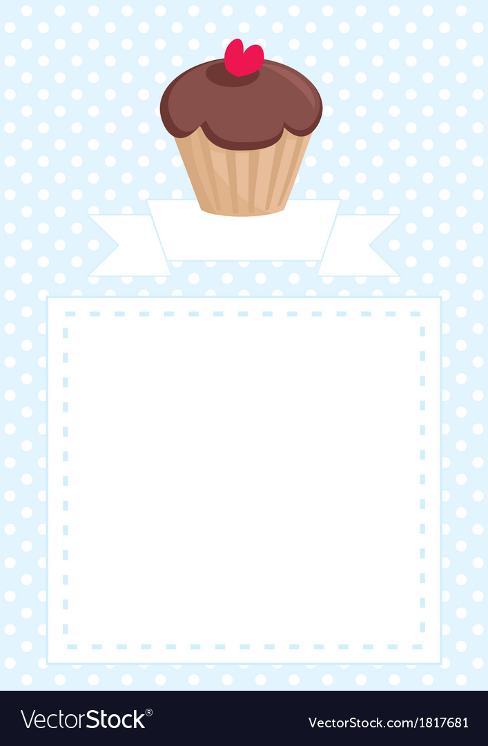 Invitation card with cupcake and polka dots vector | Price: 1 Credit (USD $1)
