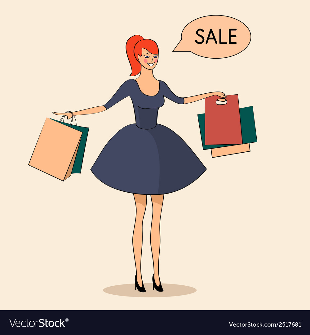 Lady with some bags sale vector | Price: 1 Credit (USD $1)
