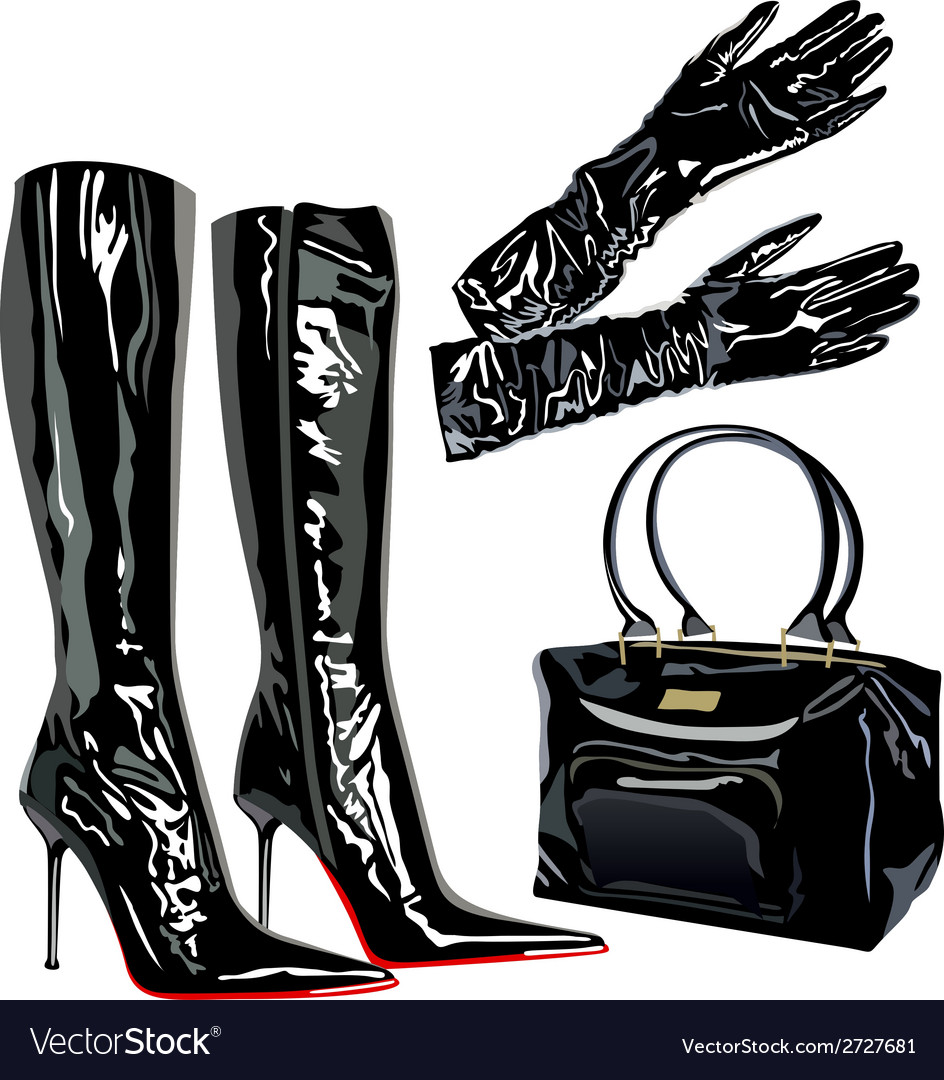 Leather latex bag boots elegant fashion vector | Price: 1 Credit (USD $1)