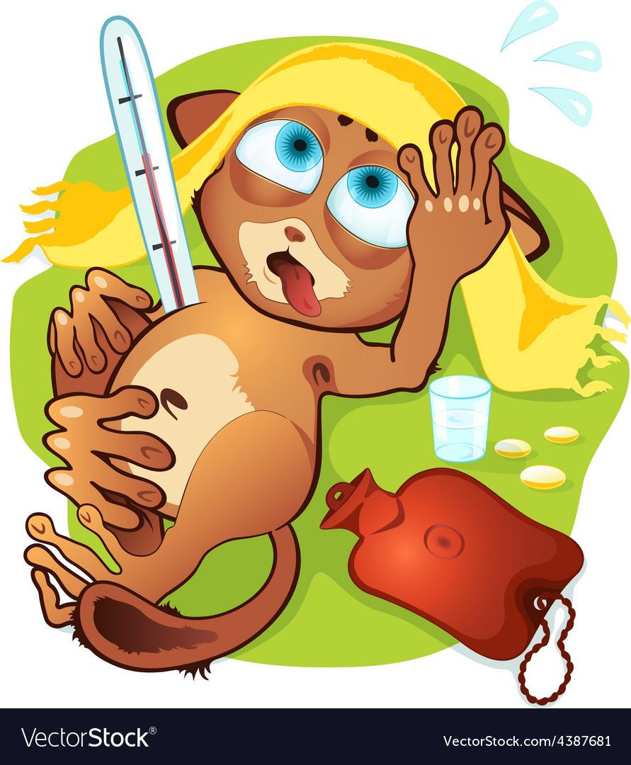 Little animals sick vector | Price: 3 Credit (USD $3)