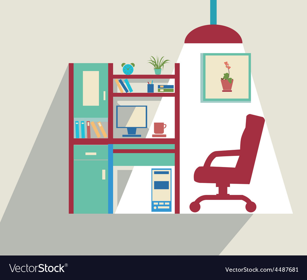 Office flat set of office furniture vector | Price: 1 Credit (USD $1)