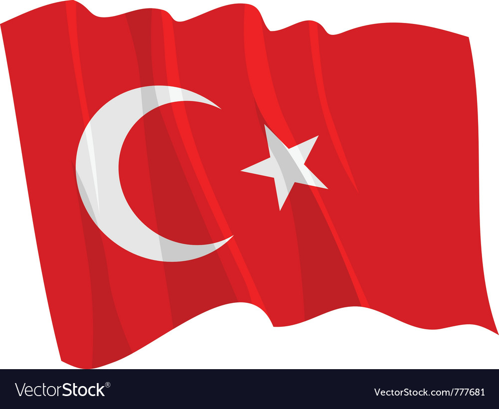 Political waving flag of turkey vector | Price: 1 Credit (USD $1)