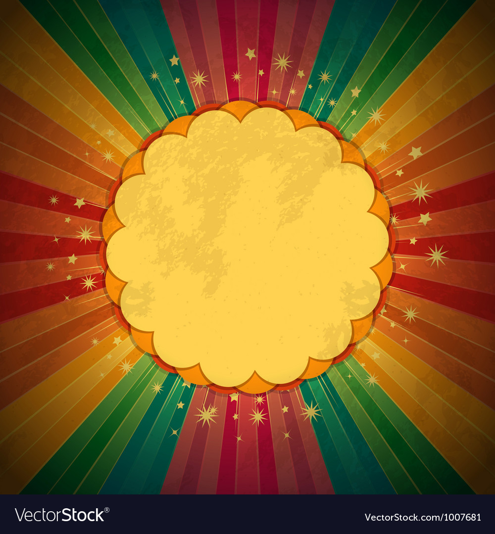 Retro rainbow starburst and border vector | Price: 1 Credit (USD $1)