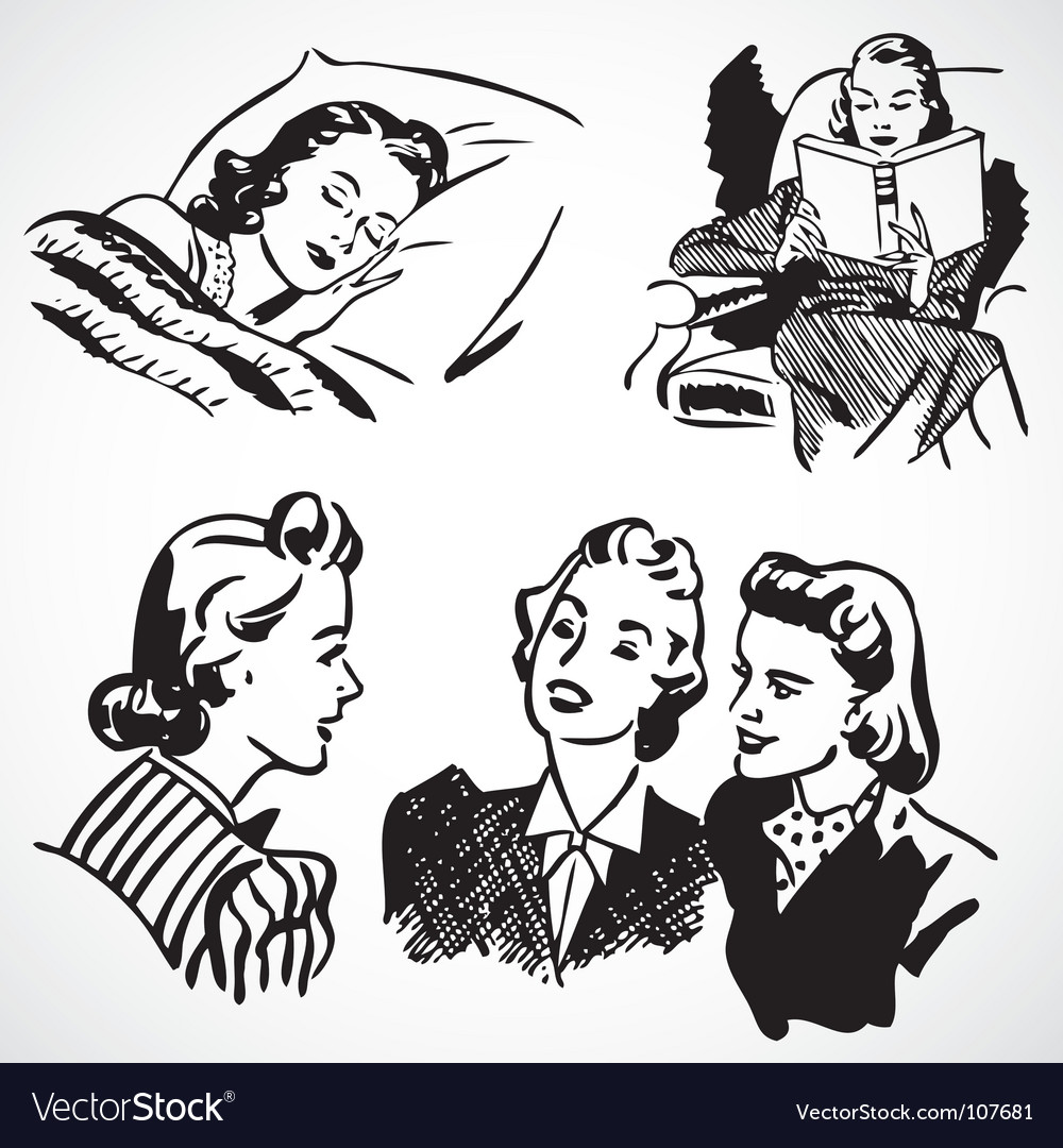 Retro women at home vector | Price: 1 Credit (USD $1)