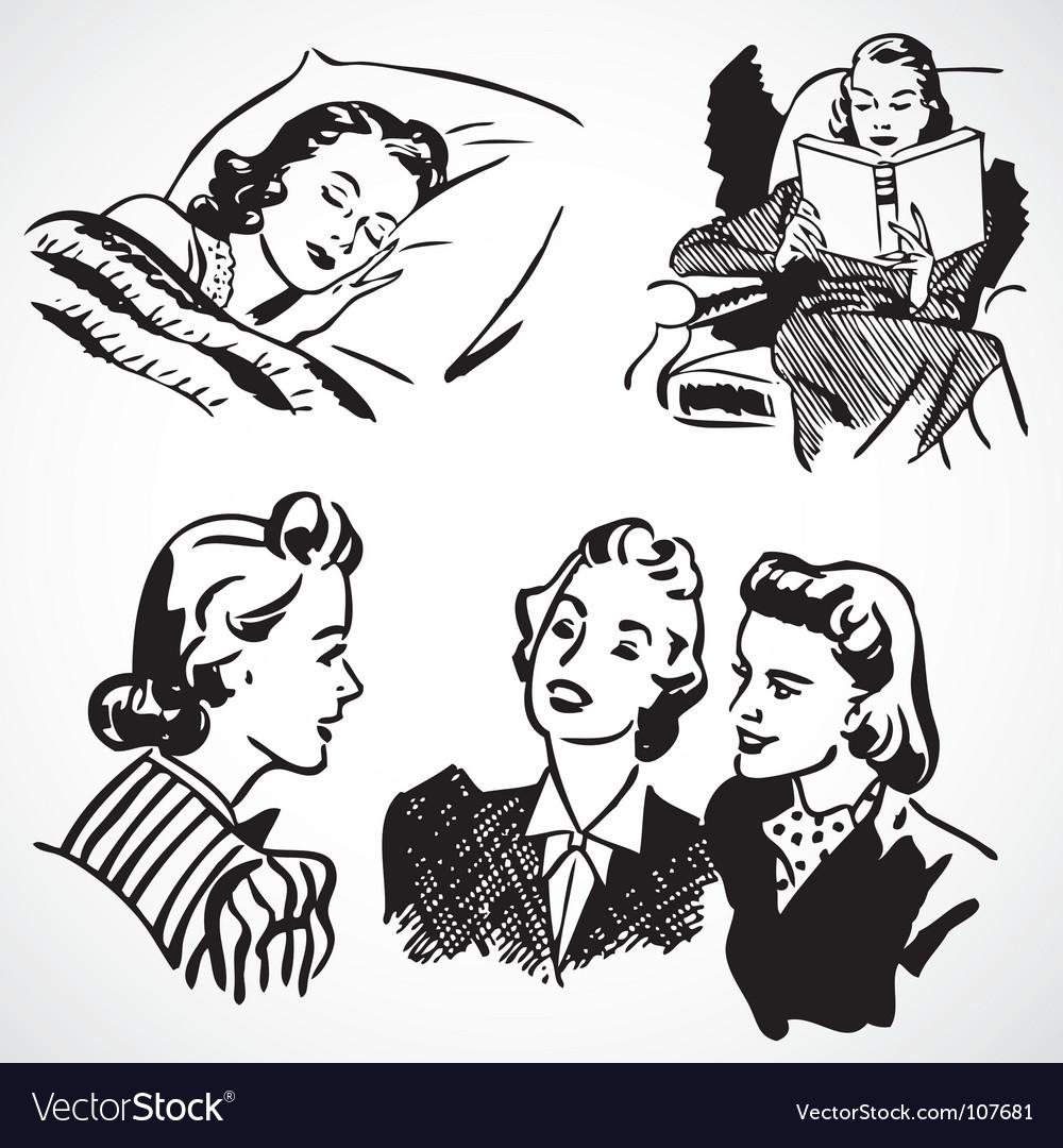 Retro women at home vector | Price: 1 Credit (USD $1)