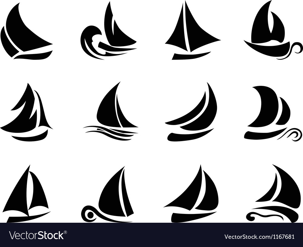 Sailboat symbol vector | Price: 1 Credit (USD $1)