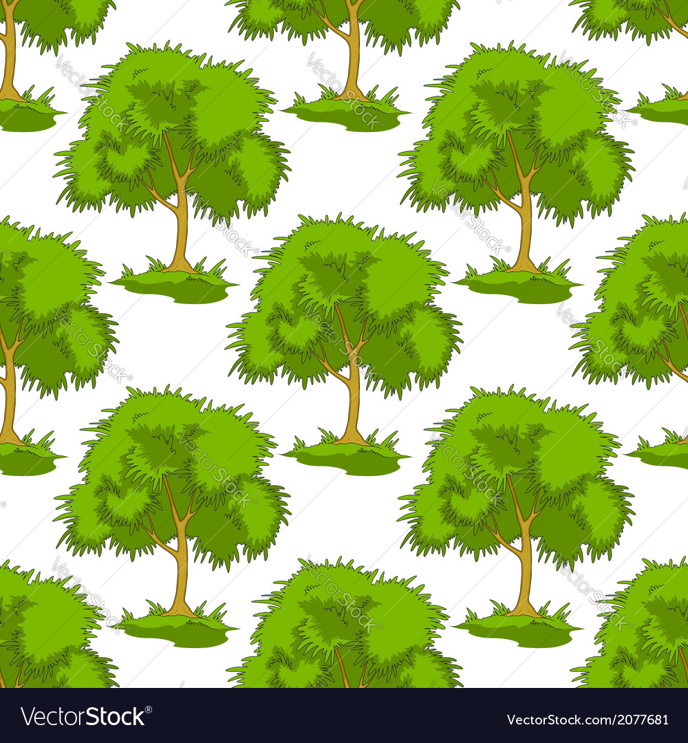Seamless pattern of leafy green trees vector | Price: 1 Credit (USD $1)
