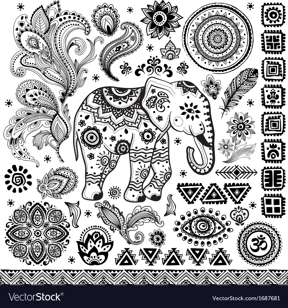 Tribal vintage ethnic pattern set vector | Price: 1 Credit (USD $1)