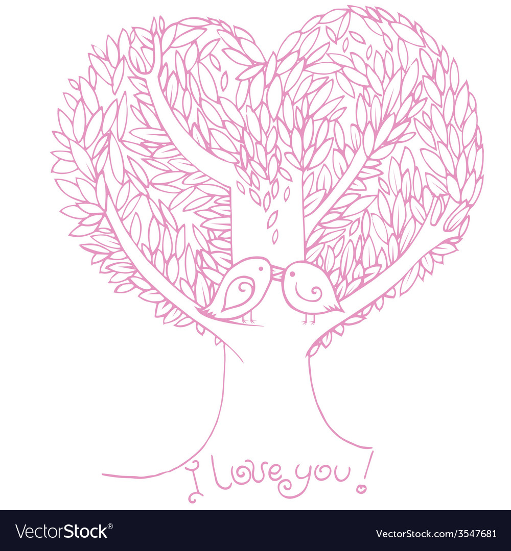 Two birds on love tree vector | Price: 1 Credit (USD $1)