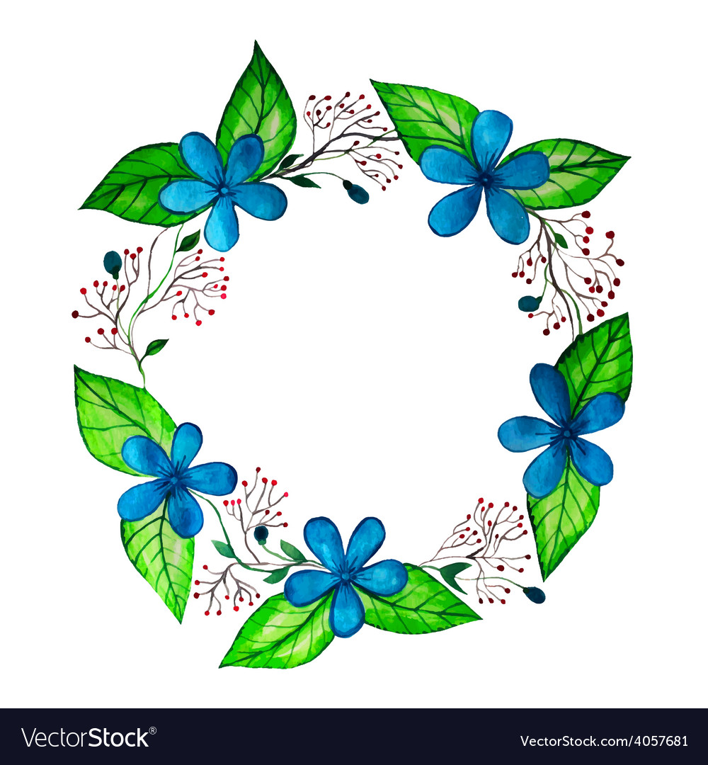 Watercolor spring wreath with blue flowers and vector | Price: 1 Credit (USD $1)
