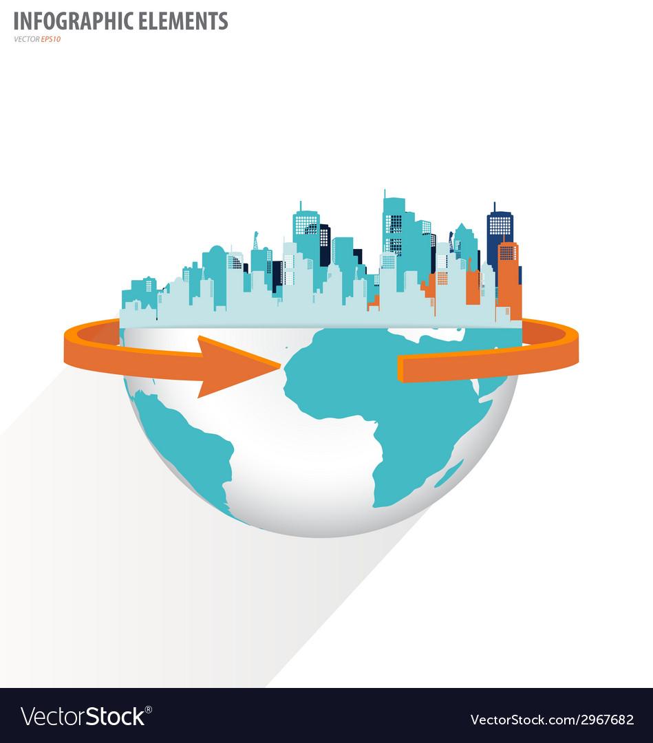 City with modern design globe vector | Price: 1 Credit (USD $1)