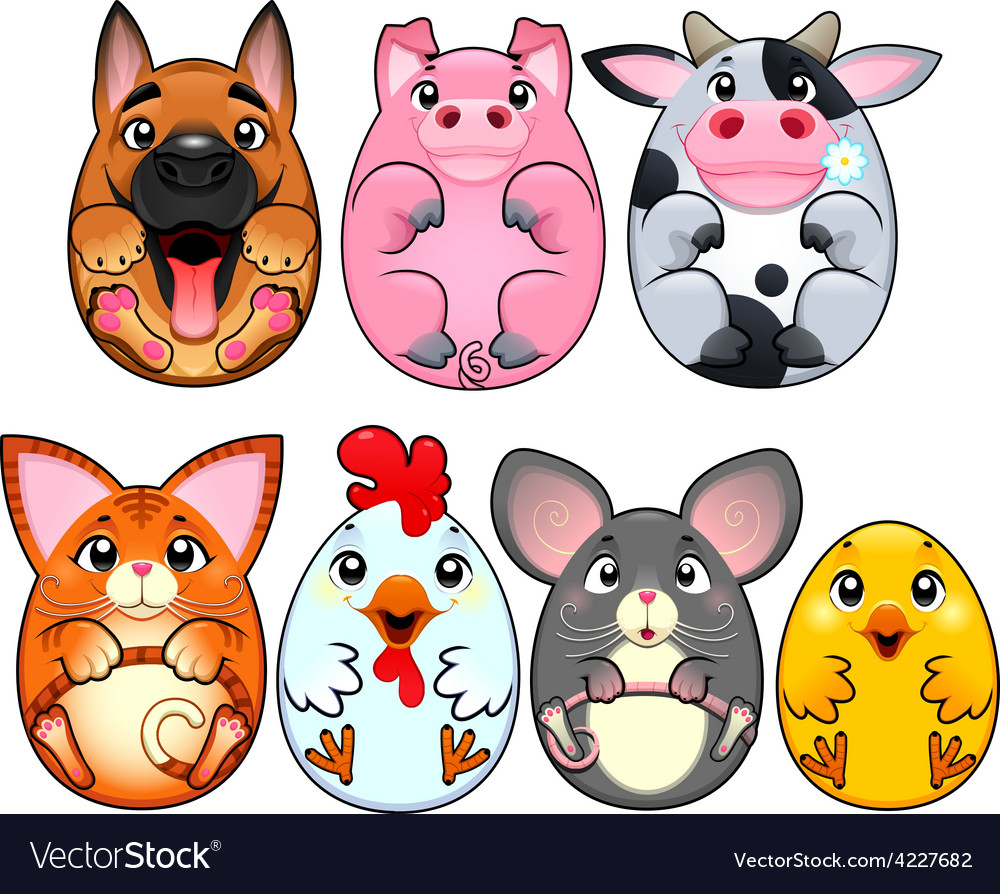 Funny animals rounded like eggs vector | Price: 3 Credit (USD $3)