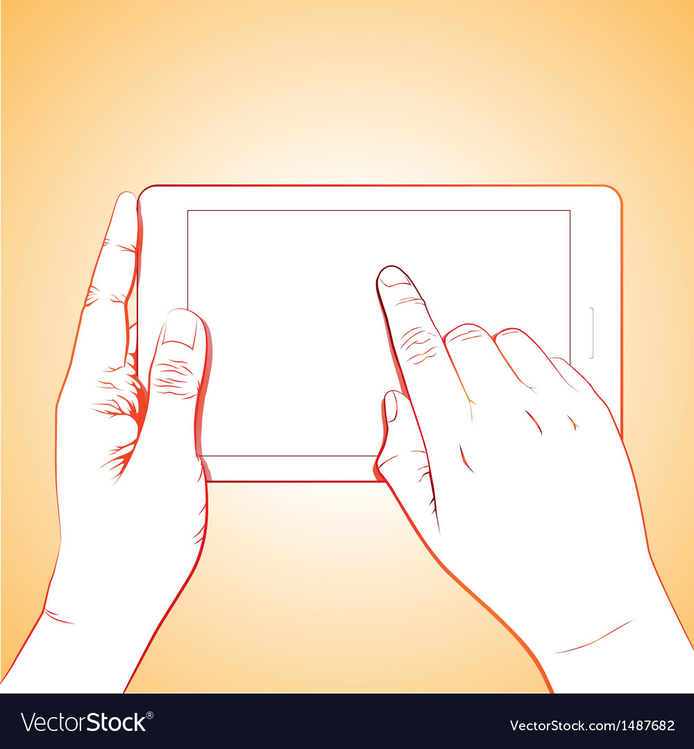 Hand touching tablet vector | Price: 3 Credit (USD $3)