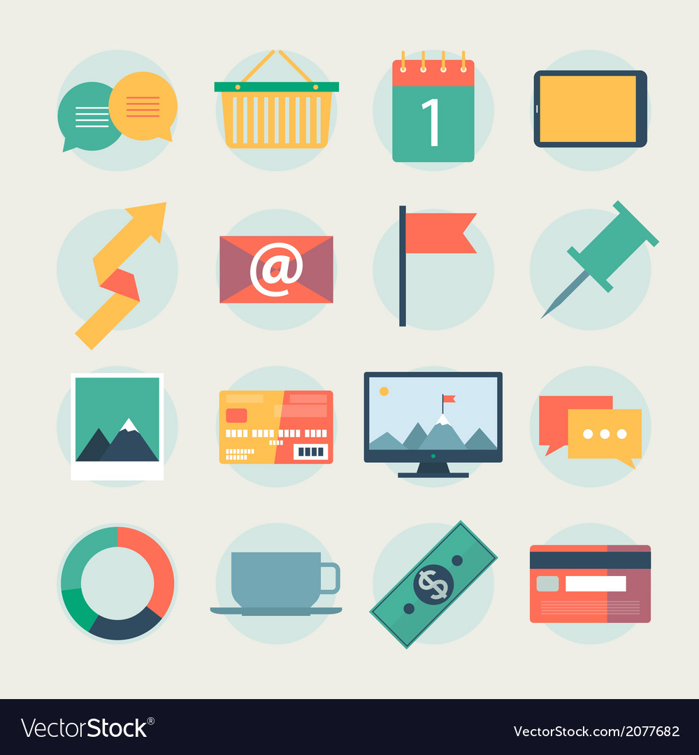 Modern flat icons collection web design objects vector | Price: 1 Credit (USD $1)