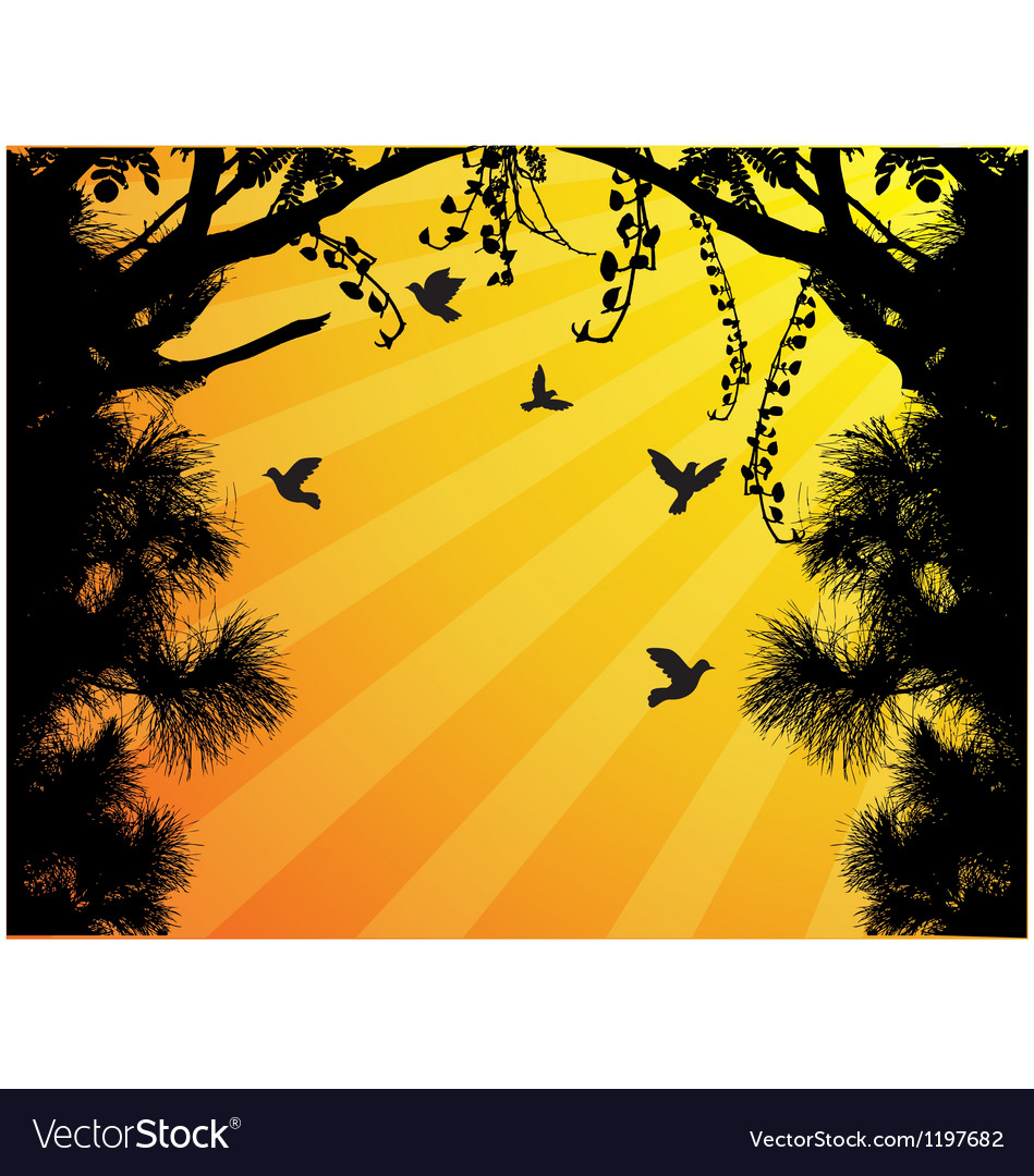 Nature tree silhouette with bird flying vector | Price: 1 Credit (USD $1)