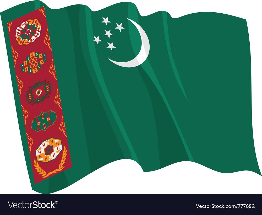 Political waving flag of turkmenistan vector | Price: 1 Credit (USD $1)