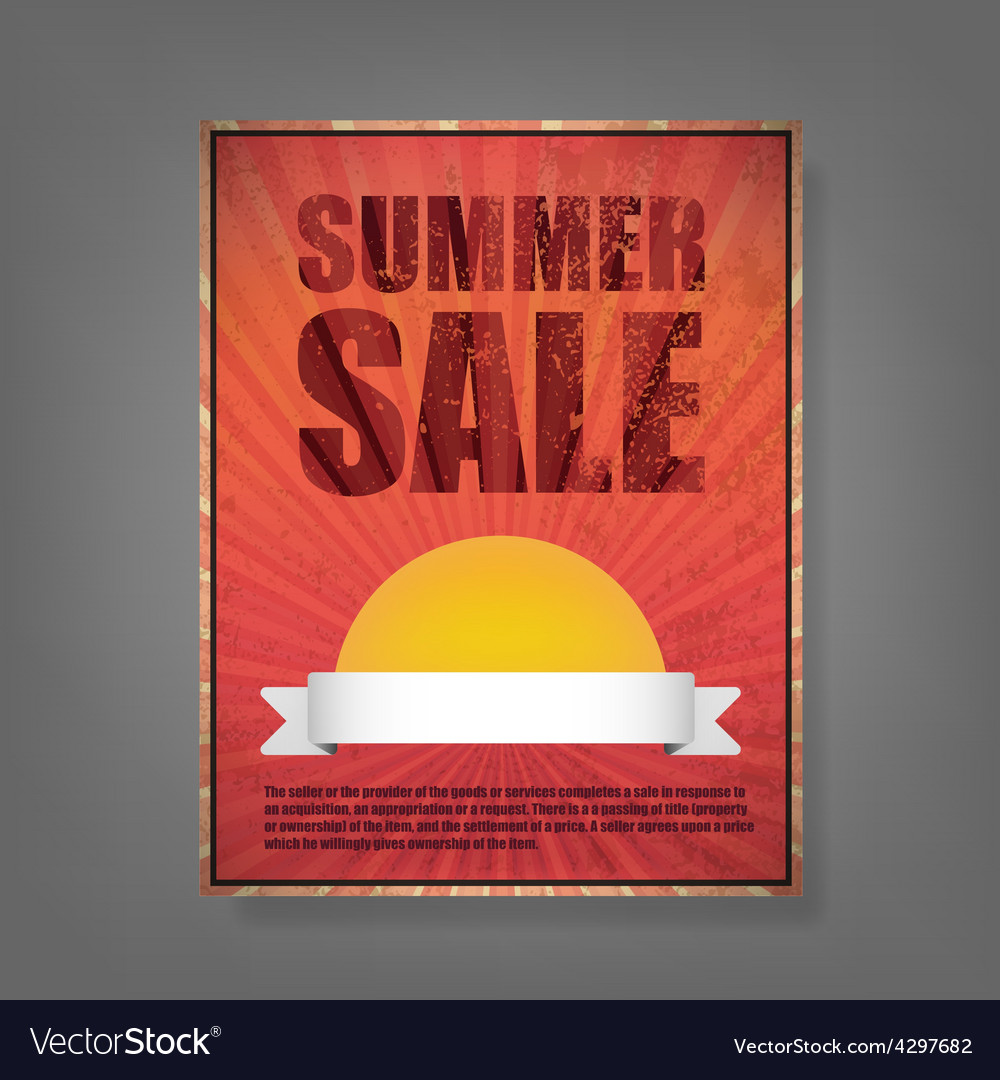 Report summer sale vintage card vector | Price: 1 Credit (USD $1)