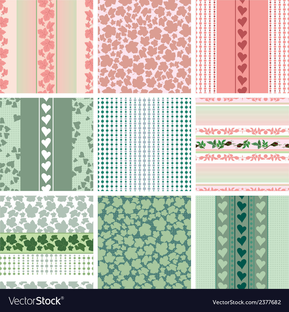 Seamless patterns of the roses and leaves set vector | Price: 1 Credit (USD $1)