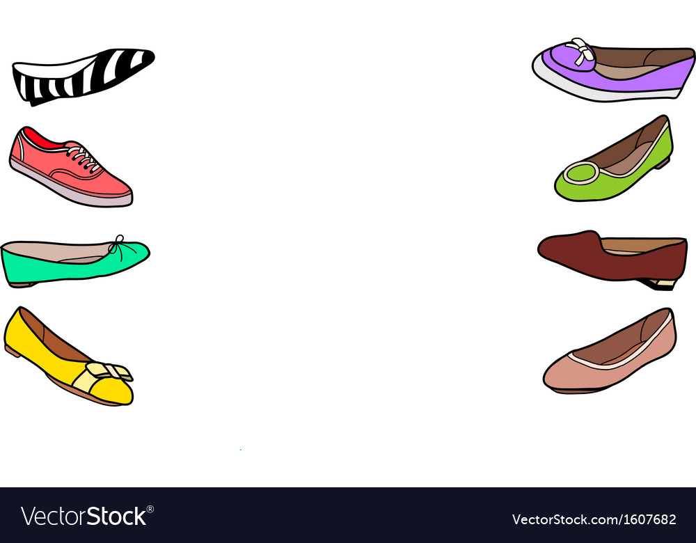 Set of female flat shoes vector | Price: 1 Credit (USD $1)