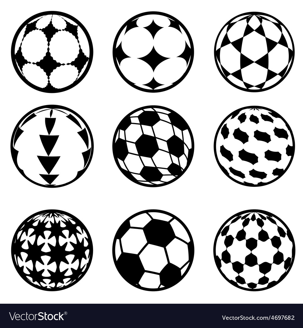 Set of football and soccer balls vector | Price: 1 Credit (USD $1)