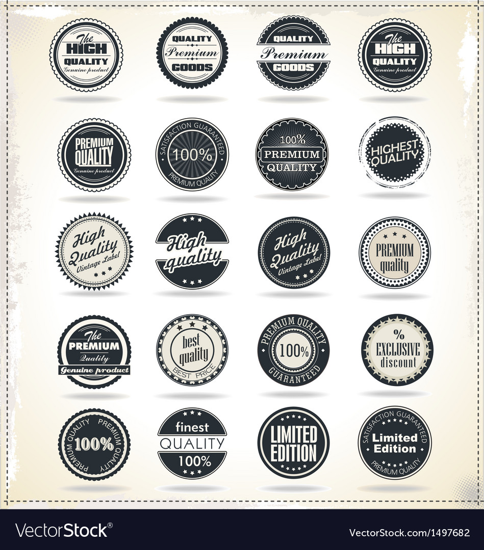 Set of retro vintage labels vector | Price: 3 Credit (USD $3)