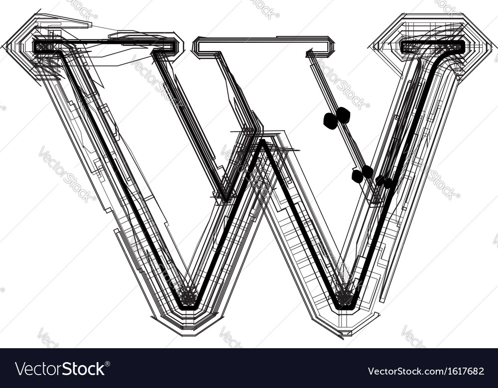 Technical typography letter w vector | Price: 1 Credit (USD $1)
