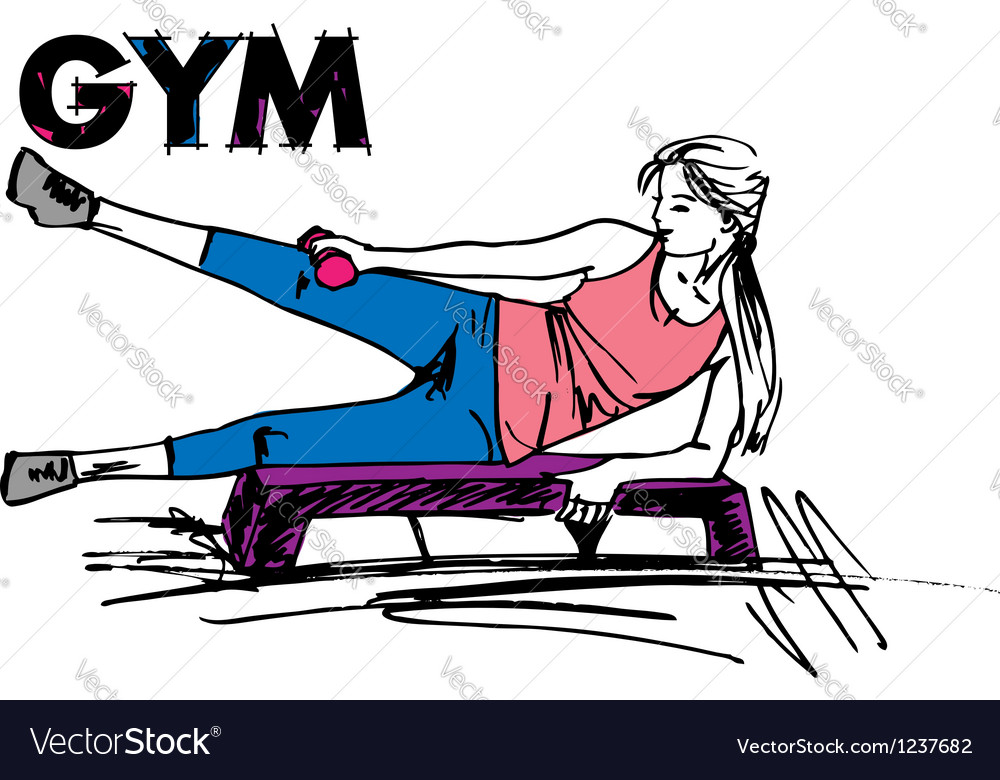 Woman on gym vector | Price: 1 Credit (USD $1)