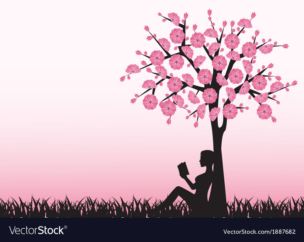 Woman reading a book under a tree vector | Price: 1 Credit (USD $1)