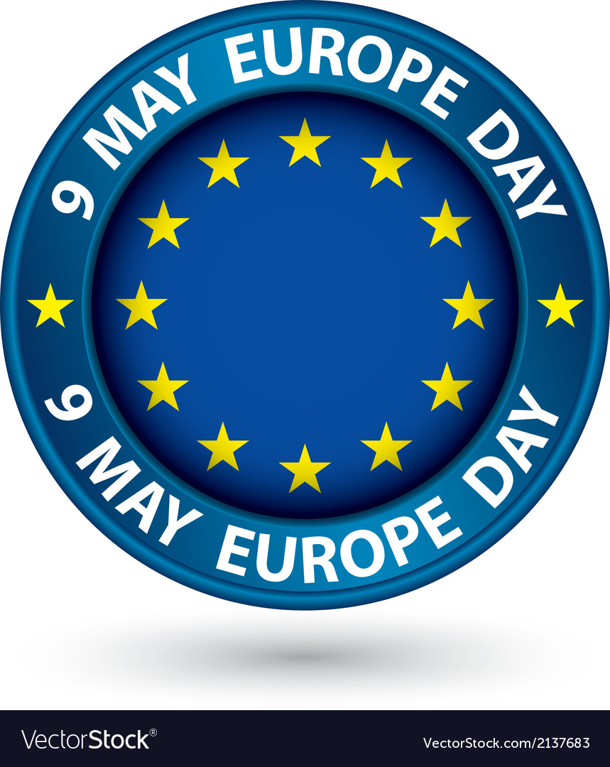 9 may europe day blue label with flag vector | Price: 1 Credit (USD $1)