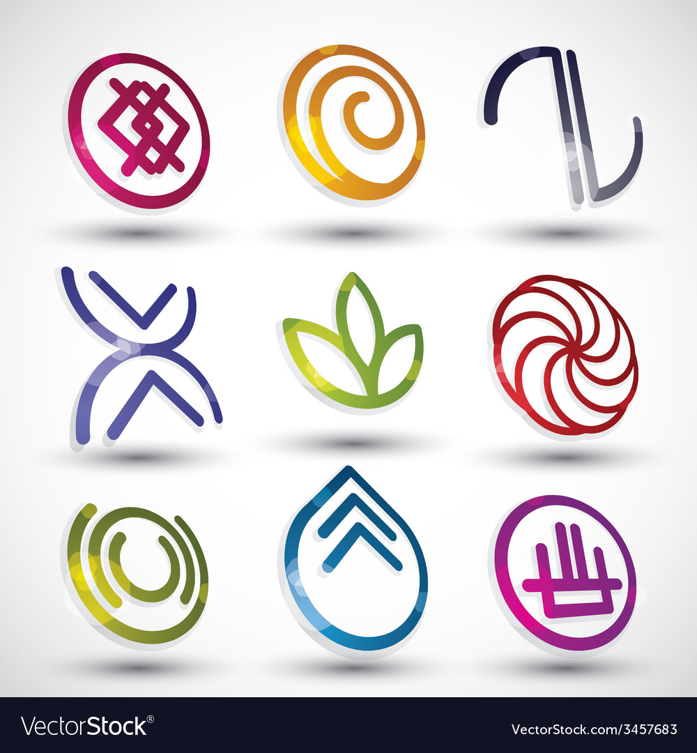 Abstract icons 3d designs set vector | Price: 1 Credit (USD $1)