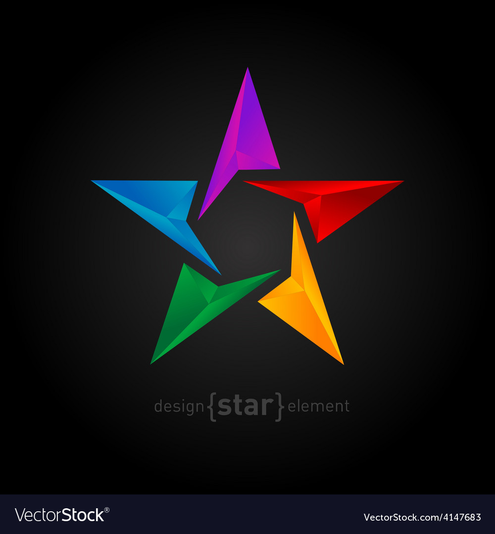 Abstract rainbow star three-dimensional graphics vector | Price: 1 Credit (USD $1)