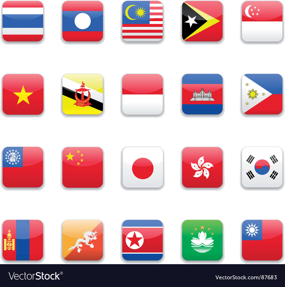 Asia flag vector | Price: 1 Credit (USD $1)