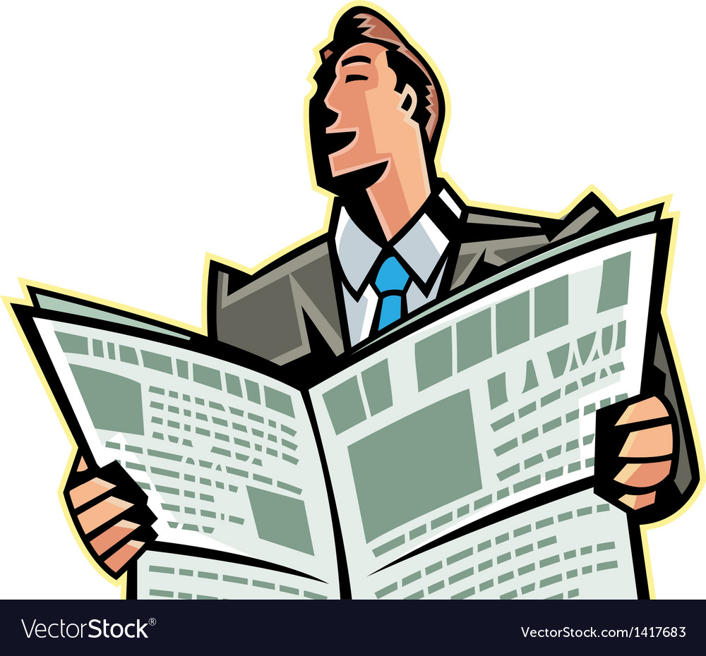 Close-up of man reading newspaper vector | Price: 1 Credit (USD $1)