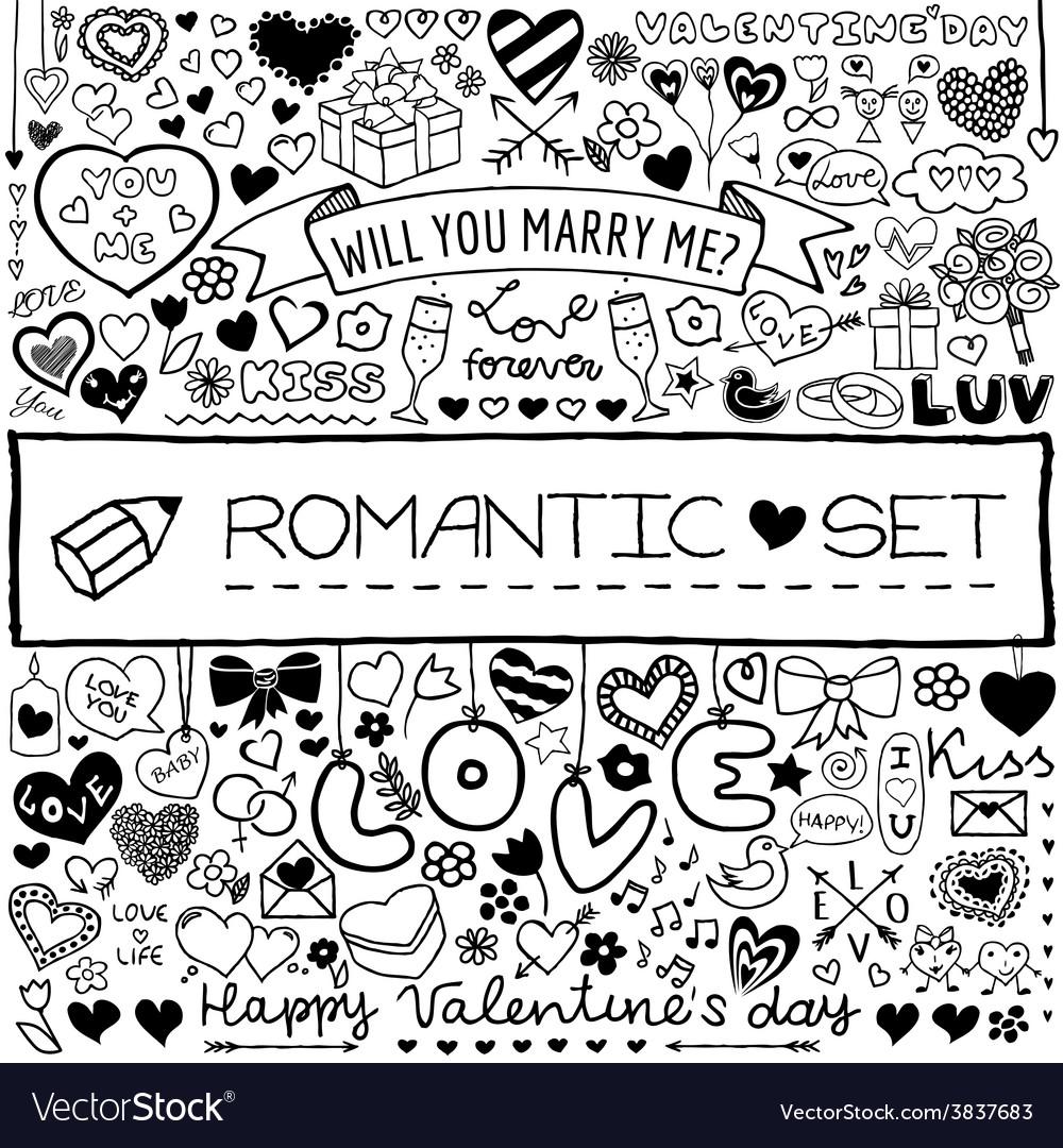 Doodle romantic set vector | Price: 1 Credit (USD $1)