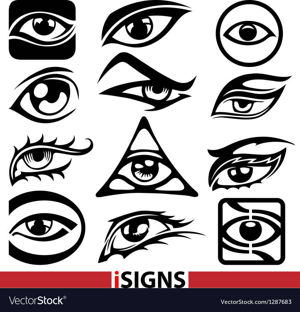 Eye signs and icons set vector | Price: 1 Credit (USD $1)