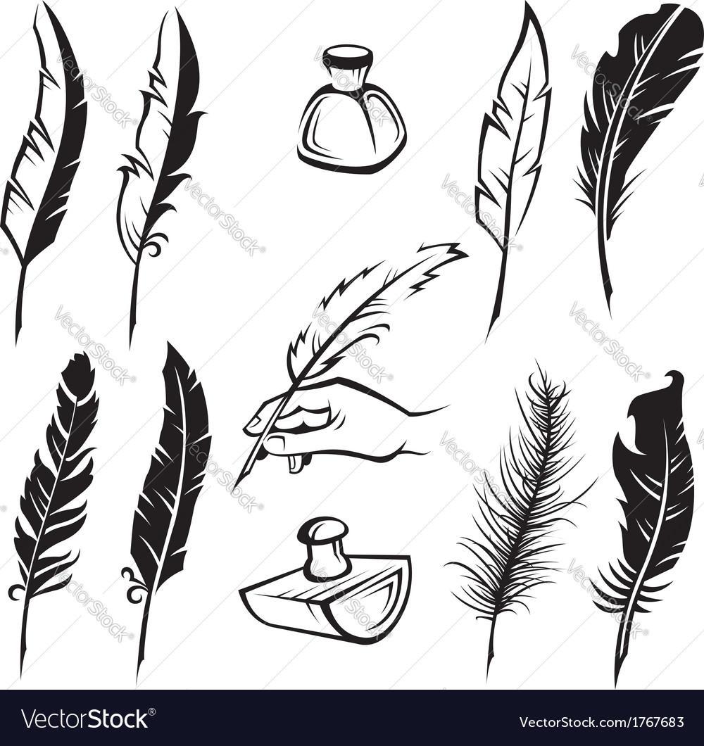 Feather pens vector | Price: 1 Credit (USD $1)