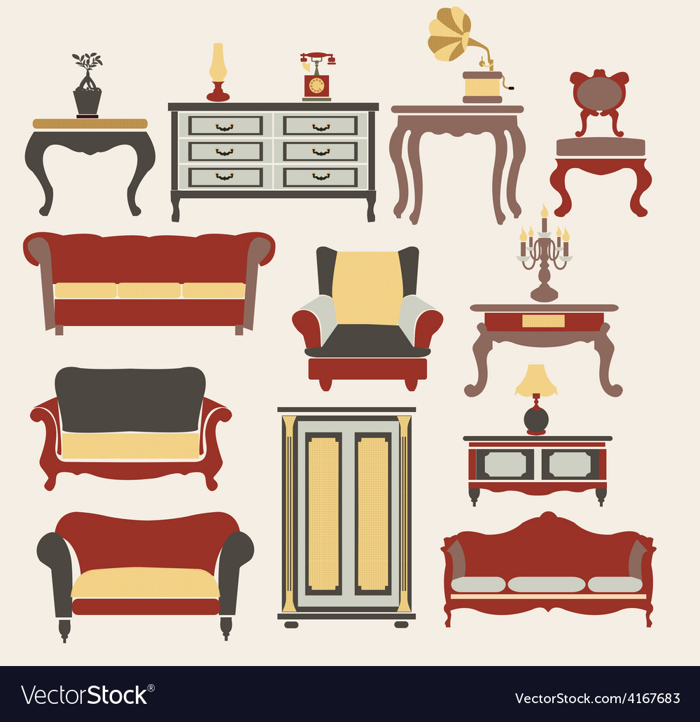 Furniture in vintage style vector | Price: 1 Credit (USD $1)