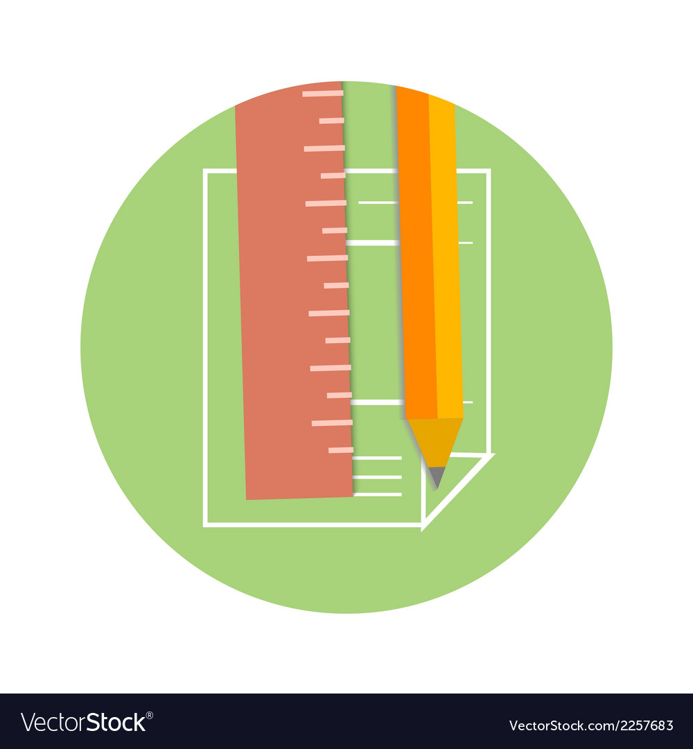 Pencil and ruler icon on a page vector | Price: 1 Credit (USD $1)